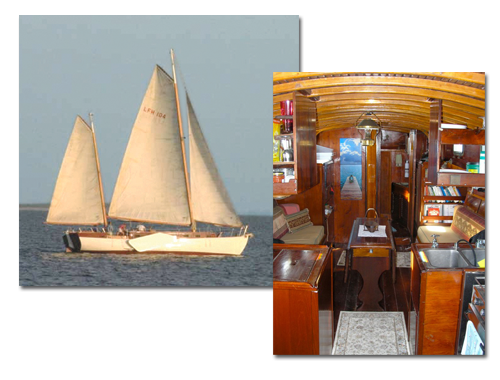 Macomber Tours on sailing ketch, Alondra, docked at Tarpon Lodge on Pine Island, Florida