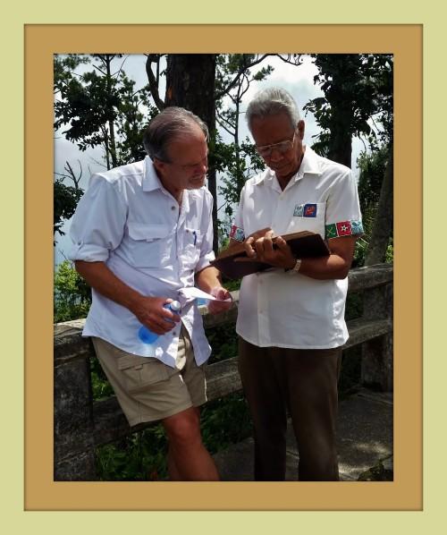 Macomber working with legendary Cuban historian, Miguel Moncada in Santiago de Cuba.