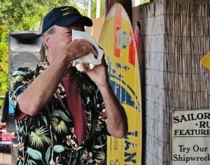 Bob sounding the conch at his Pine Island Reader Rendezvous