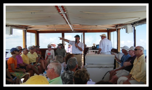 Macomber's Civil War Tour on Captiva Cruises 3-15-15; showing points of interest