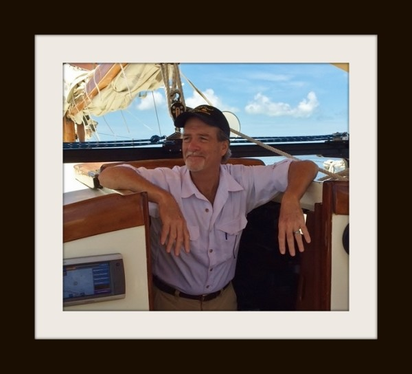 Macomber aboard the sailboat Alondra, offering a history cruise [2015]