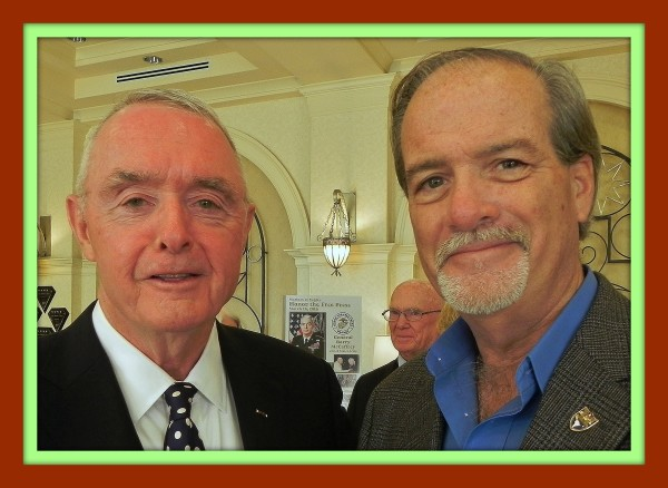 General Barry McCaffrey, US Army (Ret) on the left with Robert N. Macomber at the Honor The Free Press event founded by the Marines of Naples, FL