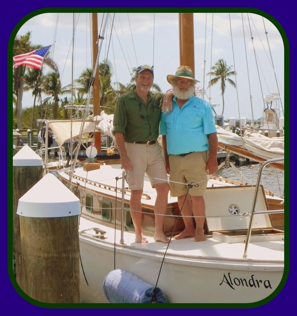 Captain Chuck Koucky [right] of Pine Island Sailing with historian and author, Robert N. Macomber [left] on the 47 ft. gaff-rigged ketch, Alondra - tours available!