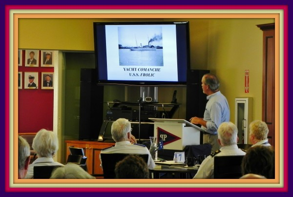 """Author and historian, Robert N. Macomber speaks to the Florida Commodores Association, hosted by Platinum Point Yacht Club, giving his talk """"Yachts That Went To War"""""""