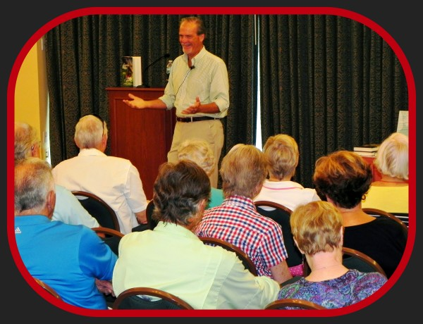 Author Robert N. Macomber entertains Shell Point's Academy of Lifelong Learning with insider's stories about his 12th novel, The Assassin's Honor and also gave highlights to a packed audience about his upcoming books.