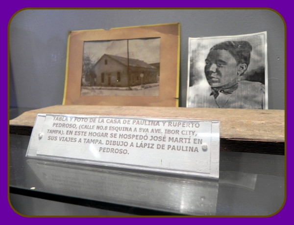 In Havana, Cuba at Jose Marti's birthplace home, there's a display on the Pedroso family who helped Marti in Ybor City [Tampa, FL] written about by Robert Macomber in his 12th novel, The Assassin's Honor.