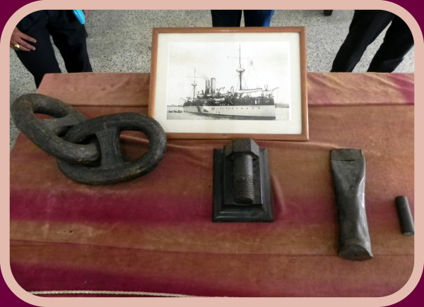 Remnants of the USS Maine, which exploded in Havana harbor, on display at the Masonic Grand Lodge of Cuba, one of the first stops on Robert Macomber's tour for his inaugural Havana Reader Rendezvous.