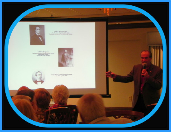 Author & historian Robert N. Macomber speaks to the SW FL Senior & Retired Physicians Association at their dinner meeting.