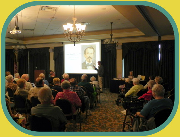 """Author & historian, Robert N. Macomber mesmerizes the crowd at Shell Point Community's Academy of Lifelong Learning as he gives the Part 1 segment of a four-part series of lectures on """"The Spanish-Cuban-American War"""" [March 2017]."""