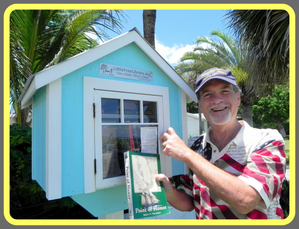 Author Robert N. Macomber promoting & supporting literacy through donations to Little Free Libraries on July 4th.