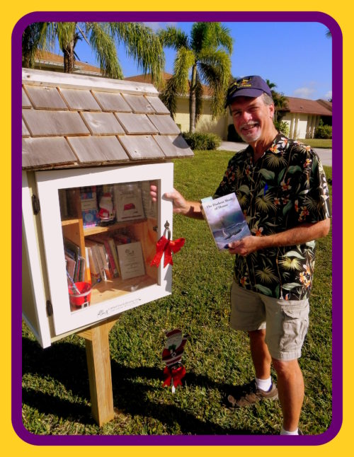 Robert N. Macomber continues his Little Free Library donation tour back in Cape Coral, Florida by contributing his novel, The Darkest Shade of Honor.