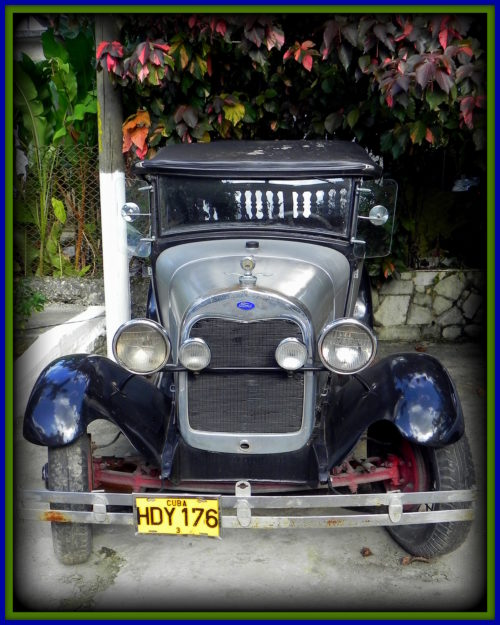 Parked outside Divino Botanical Garden Restaurant in Havana, you'll never know what surprises await in Cuba ~ check this out!